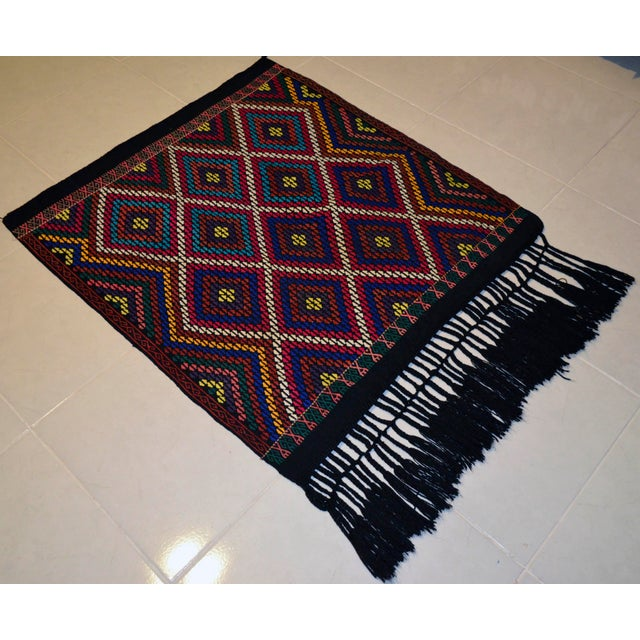 Dimensions: 37.8″ x 41.3″ Excluding fringe Material :The original Kilim is made of wool on wool Condition: Used. In Very...