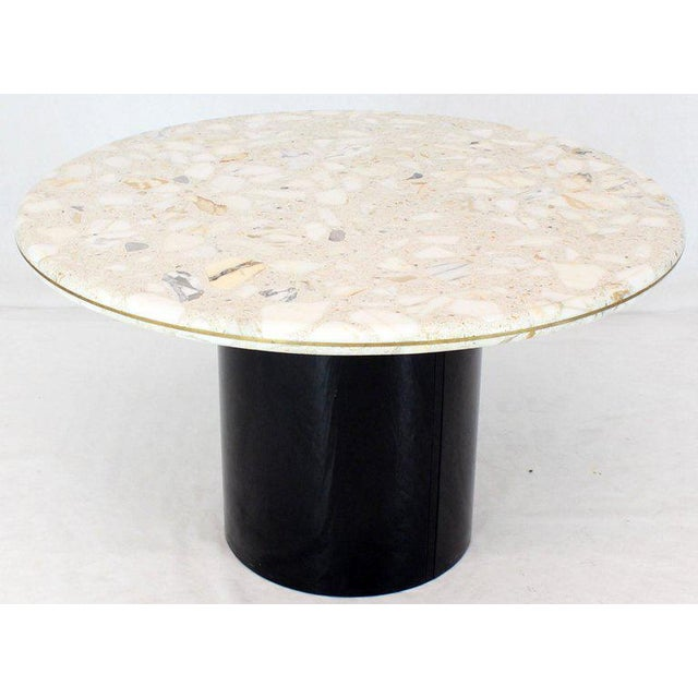 1970s Round Marble Top Cylinder Base Center Conference Gueridon Dining Table For Sale - Image 5 of 10