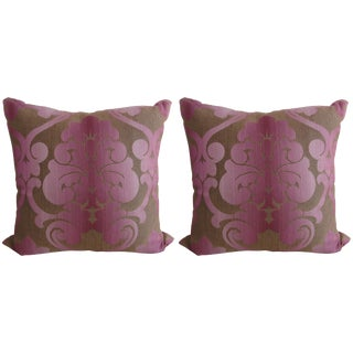 Brocade Custom Pillows - A Pair For Sale