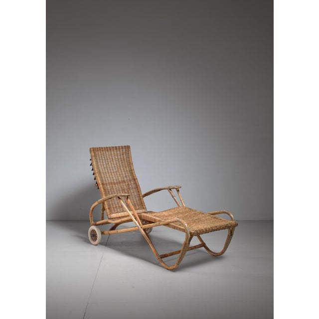 Metal Adjustable Bamboo and Rattan Chaise With Wheels, Germany, 1920s-1930s For Sale - Image 7 of 7