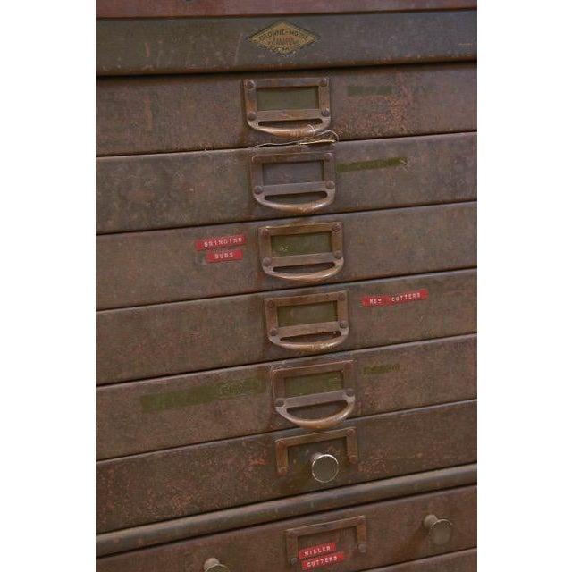 Dark Gray 1940s Industrial Browne-Morse Filing Cabinet For Sale - Image 8 of 10