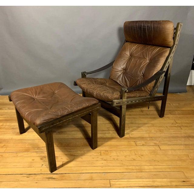 """Torbjørn Afdal """"Hunter"""" Chair & Ottoman, Bruskbo Norway 1960s For Sale - Image 10 of 10"""