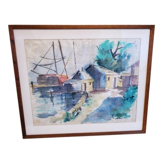 "Mid 20th Century Original ""The Yacht & the House"" Watercolor Painting For Sale"