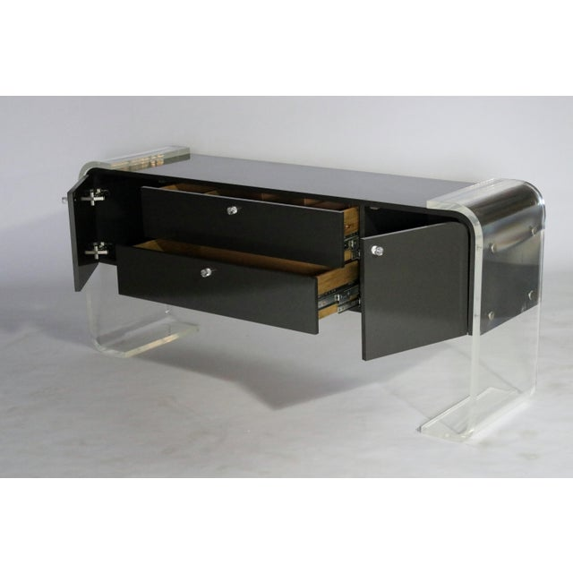 Gray Lucite and Lacquered Wood Sideboard For Sale - Image 8 of 9