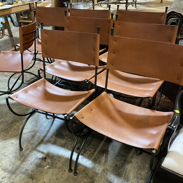 Brown Charleston Forge Legacy Iron Dining Chairs -Set/8 For Sale - Image 8 of 11