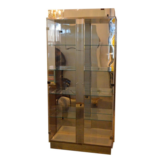 Mid Century Modern Tall Lucite, Glass, Mirror and Chrome Cabinet w/ Lighting - Image 1 of 6