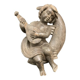 1920s Vintage Carved Wood Angel Playing Instrument Paper Mache Mold Takaan For Sale