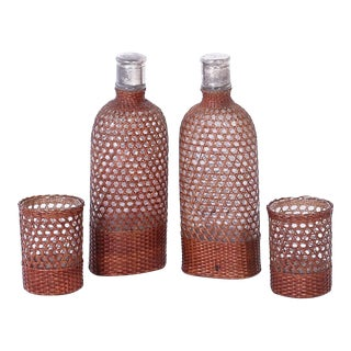 Vintage Set of Drinking Vessels Wrapped in Wicker or Cane - Set of 4 For Sale