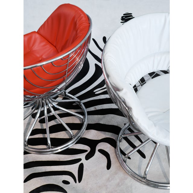 Mid-Century Modern Warren Platner Style Chrome Chairs - A Pair For Sale - Image 3 of 11