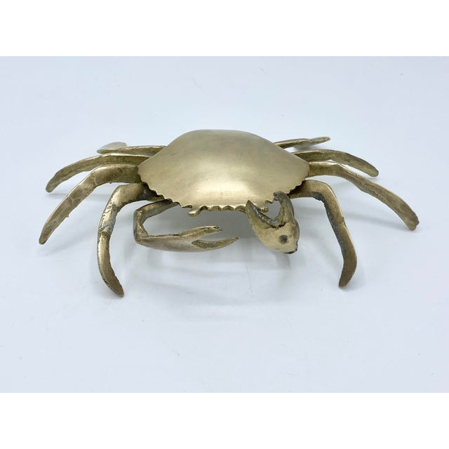 Metal Mid-Century Brass Crab Ashtray With Hinged Lid For Sale - Image 7 of 7