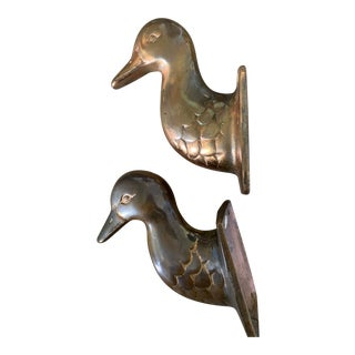 Vintage Copper Duck Head Bust Wall Mount Hook - a Pair For Sale