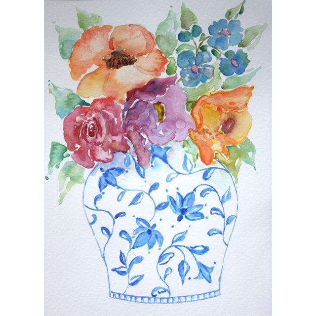 Original Watercolor Chinoiserie Floral - Image 1 of 2