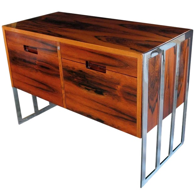 Chic Danish, 1970s, Jacaranda Wood Two-Drawer Cabinet with Chrome Supports For Sale