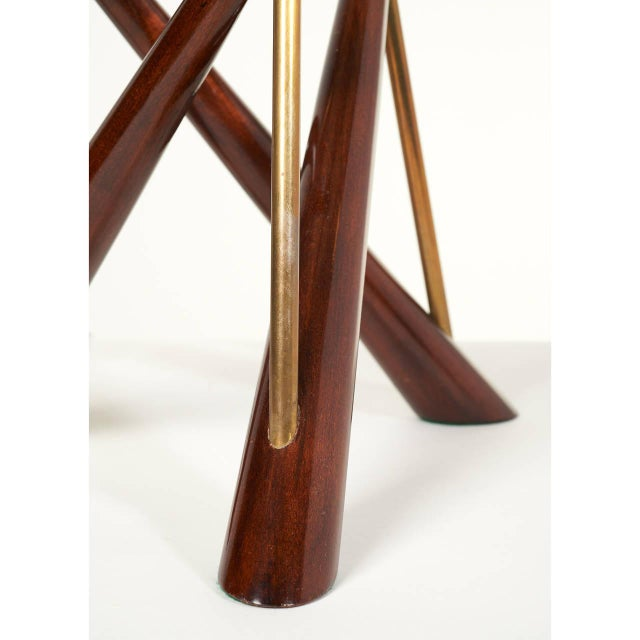 Pair of 'Constructivist' Walnut and Brass Tripod Table Lamps For Sale - Image 4 of 8