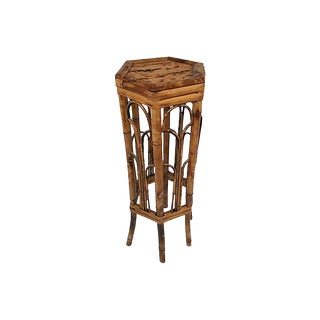 Tortoise Burnt Bamboo Plant Stand For Sale