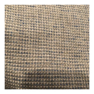 Beige and Blue Weave Designer Linen Fabric - 5 Yards For Sale