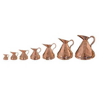 19th Century English Copper Graduated Measures - Set of 7 For Sale
