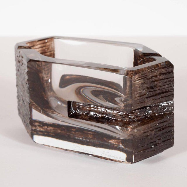 Glass Mid-Century Modern Sculptural Hexagonal Smoked Glass Ashtray or Bowl by Daum For Sale - Image 7 of 8