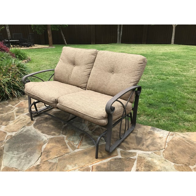 Contemporary Winston Palazzo Outdoor Love Seat Glider For Image 3 Of 7