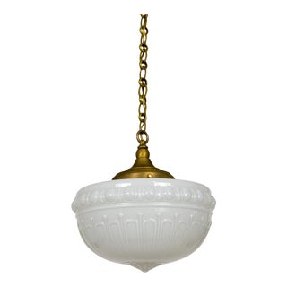 1920s Gadrooned Milk Glass & Brass Pendant For Sale