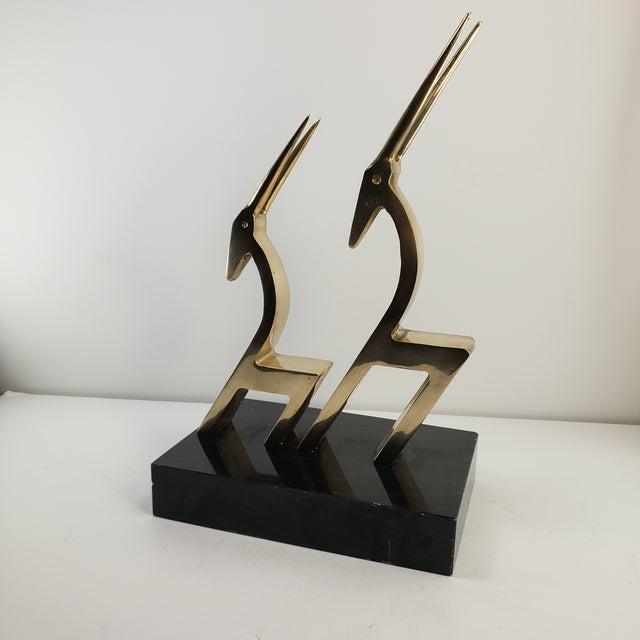 Metal Vintage Brass 2 Gazelle Sculpture Mid Century Modern Table Art For Sale - Image 7 of 12