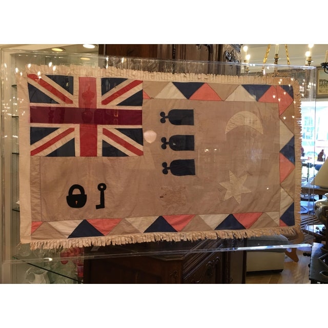 Rare Antique British Colony Flag in Lucite Frame - Image 3 of 7