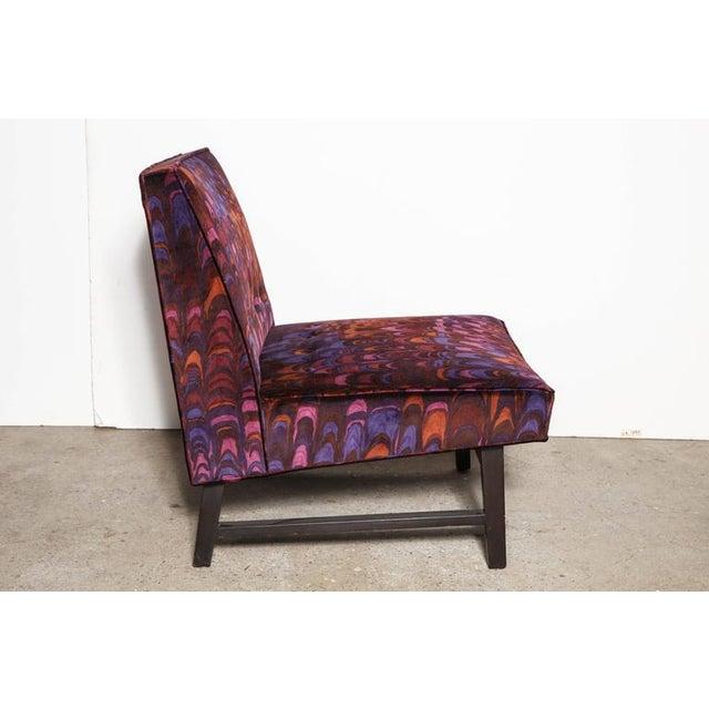 American Mid Century Edward Wormley for Dunbar Colorful Mod Slipper Chair. Featuring a Black ebonized Mahogany frame and...