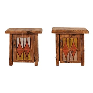Pair of Rustically Carved Side Tables W/ Nw Totem Motif Circa 1950s