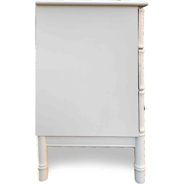 Mid Century Hollywood Regency Faux Bamboo Dresser in White For Sale In Chicago - Image 6 of 7
