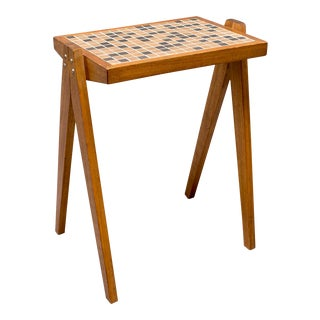 Mid-Century Walnut and Tile Side Table