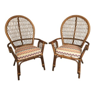 Mid Century Curated Rattan Bamboo Outdoor Chairs- a Pair For Sale
