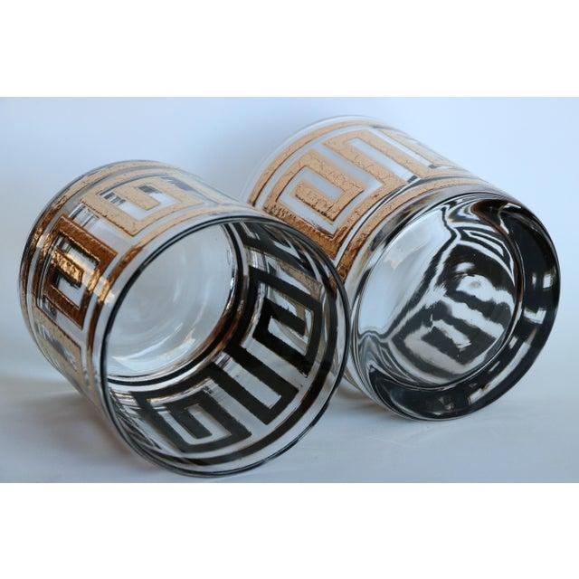 Culver Greek Key Gold Rocks Glasses - Set of 8 - Image 6 of 6