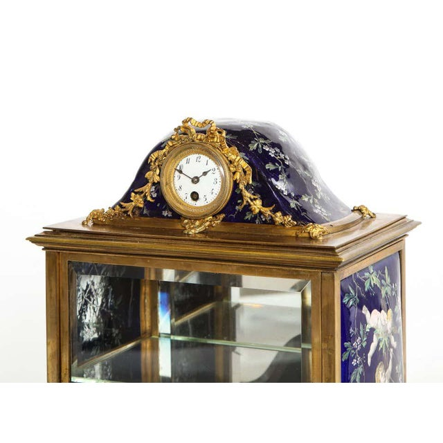 French Bronze and Limoges Enamel Jewelry Vitrine Cabinet with Clock For Sale - Image 9 of 13