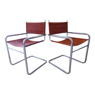 Mid-Century Modern Chrome Cantilever Chairs - a Pair