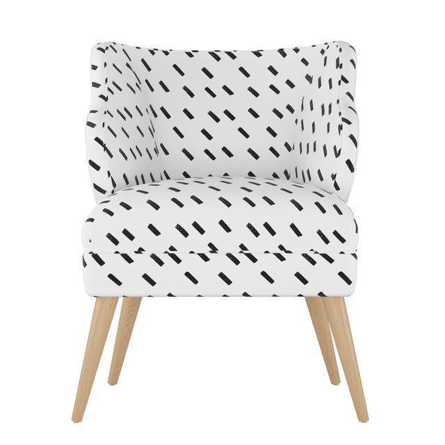 Textile Modern Chair in Charcoal Dash White Oga For Sale - Image 7 of 7