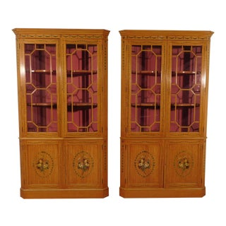 Baker Adams Paint Decorated Corner Cabinets - A Pair