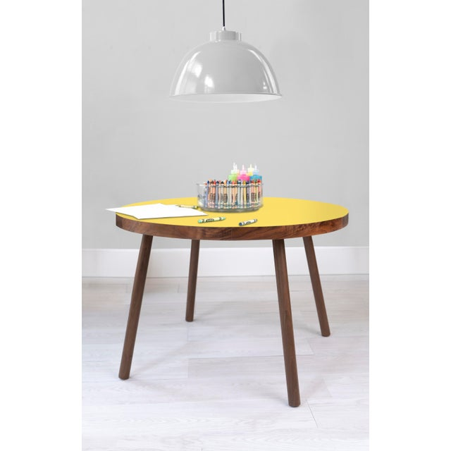 "Contemporary Poco Large Round 30"" Kids Table in Walnut With Yellow Top For Sale - Image 3 of 4"