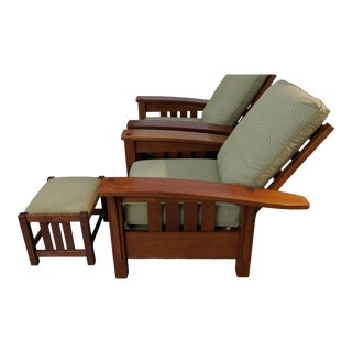 Adirondack Stickly Bow Back Chairs With Foot Stool - 2 Pieces For Sale