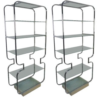 Mid-Century Modern Polished Chrome and Glass Etageres - a Pair For Sale