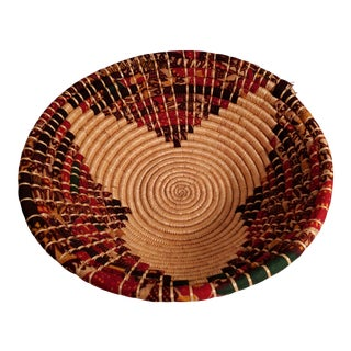 African Chitenge Fabric and Grass Basket For Sale