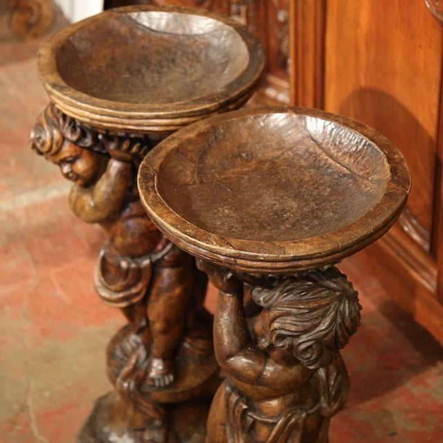 Louis XV 18th Century French Hand-Carved Walnut Jardinieres With Cherubs - A Pair For Sale - Image 3 of 9