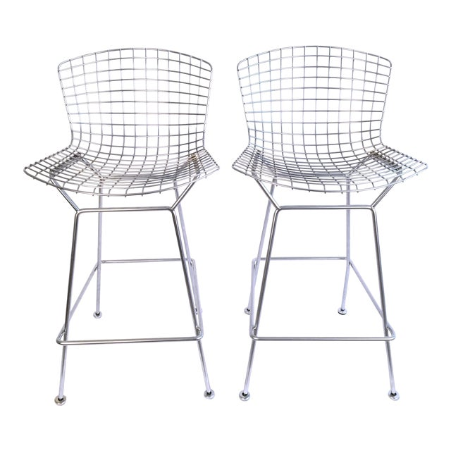 Harry Bertoia Knoll Signed Chrome Bar Counter Stools - a Pair - Image 1 of 7