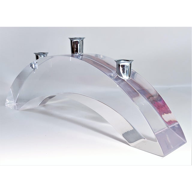 Mid-Century Modern Vintage Lucite Arched Candle Holder by Astrolite Ritts For Sale - Image 3 of 11