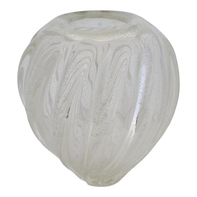 Vintage Murano Glass Vase With Silver Flecks For Sale