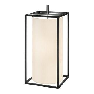 Textured Black Box Frame Pendant Light For Sale