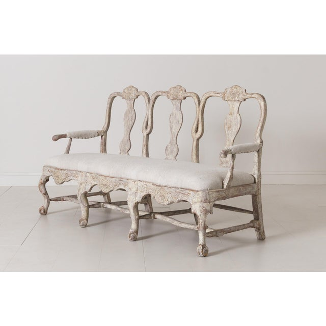White 18th Century Swedish Rococo Period Settee or Bench in Original Paint For Sale - Image 8 of 12