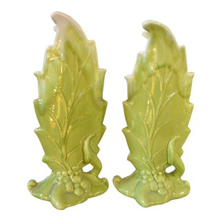 Royal Haeger by Royal Hickman Green Leaf Vases - a Pair For Sale
