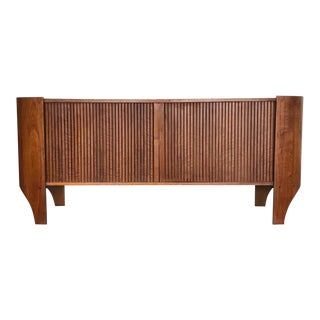 1960s Sculptural Tambour Door Walnut Credenza by Henry P. Glass For Sale