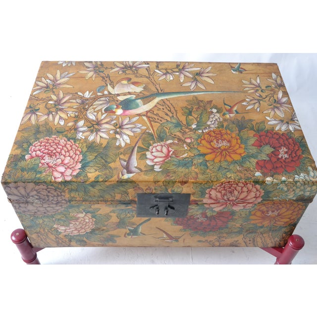 Leather Hand-Painted Chinese Trunk on Stand - Image 2 of 6