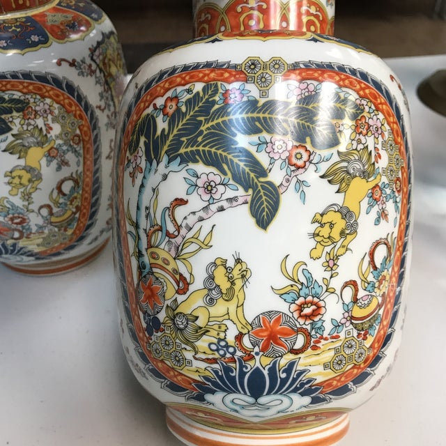 Ardalt Ardalt Chinoiserie Hand Painted Vases - A Pair For Sale - Image 4 of 10